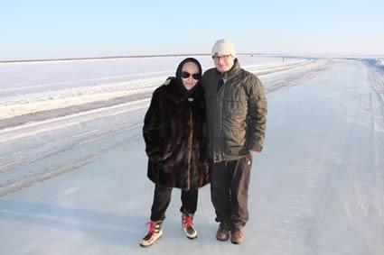 Auf dem zugefrorenen Fluß